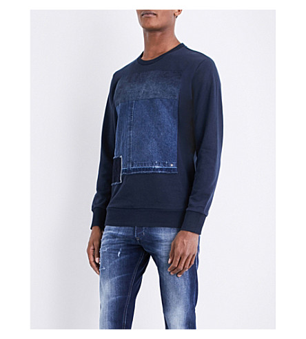 DIESEL S-peter denim-detail cotton-jersey sweatshirt (Total+eclipse