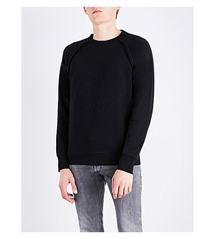 DIESEL S-paul embossed cotton-jersey sweatshirt (Black