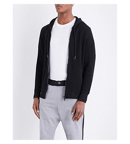 DIESEL S-亚当质感棉质平纹针织帽衫 (黑色