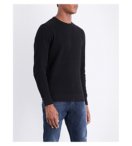 DIESEL S-Jerry waffle-knit cotton sweatshirt (Black