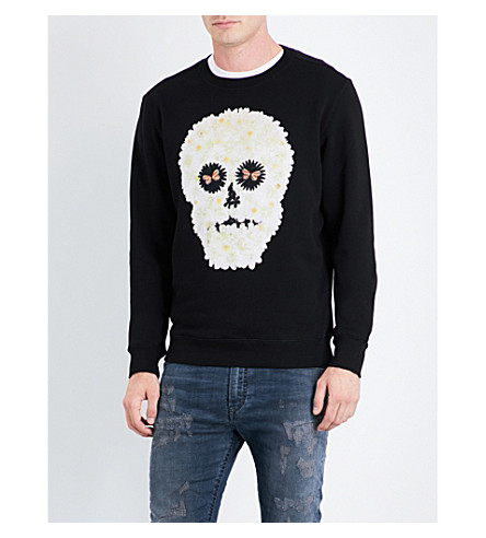 DIESEL S-Joe-Qb floral skull-print cotton sweatshirt (Black