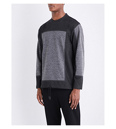 DIESEL S-rev drawstring hem woven jumper (Black
