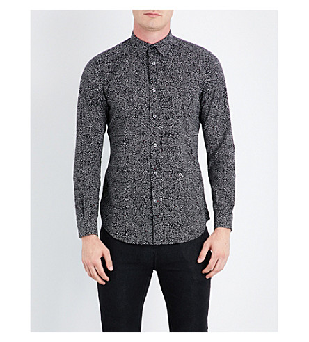 DIESEL S-dino slim-fit star-print stretch-cotton shirt (Black