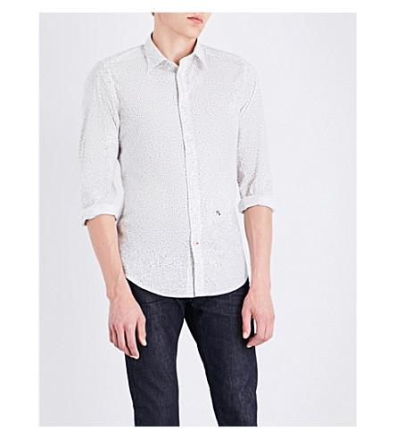 DIESEL S-dino slim-fit star-print stretch-cotton shirt (Bright+white