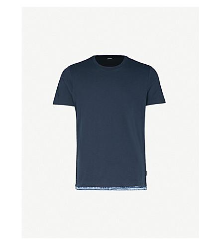 DIESEL T-Gerald frayed denim-trim cotton-jersey T-shirt (Total+eclipse