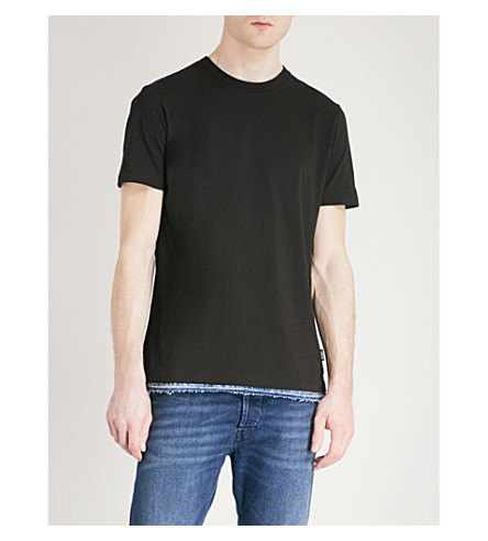 DIESEL T-Gerald frayed denim-trim cotton-jersey T-shirt (Black