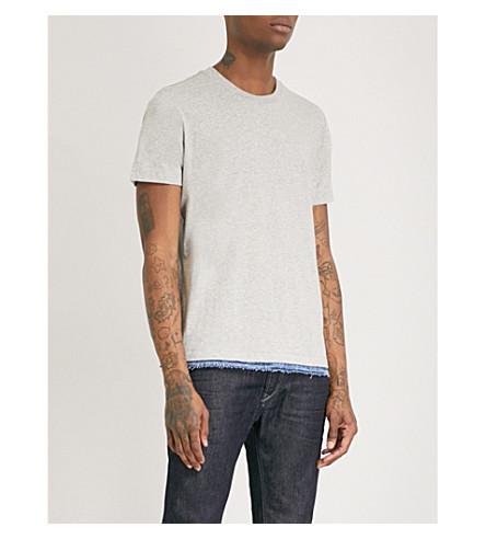 DIESEL T-Gerald denim-detail cotton-jersey T-shirt (Light+grey+melange