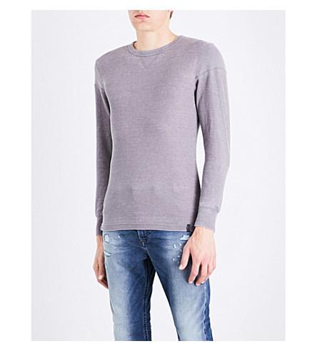 DIESEL T-harold waffle-knit top (Dark+grey+melange