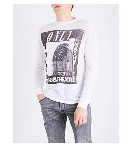 DIESEL T-kos logo-print linen T-shirt (Bright+white