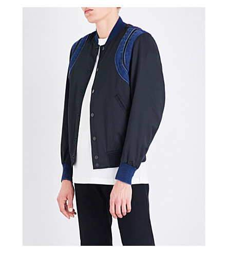DIESEL J-Fonty shell and denim bomber jacket (Black