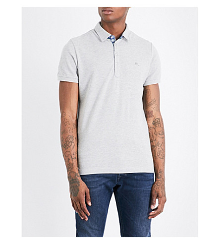 DIESEL T-Raga cotton-piqué polo shirt (Light+grey+melange