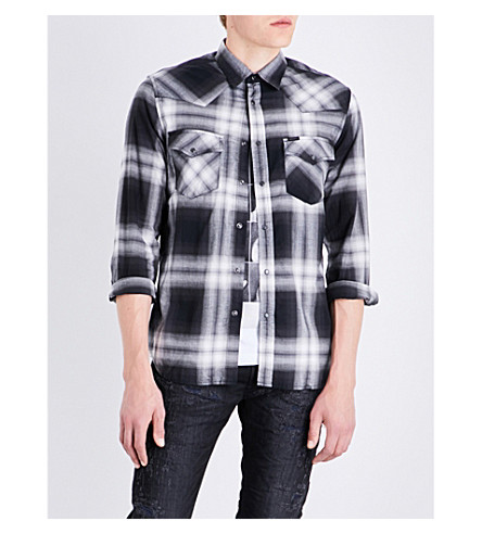 DIESEL S-east regular-fit checked cotton shirt (Black