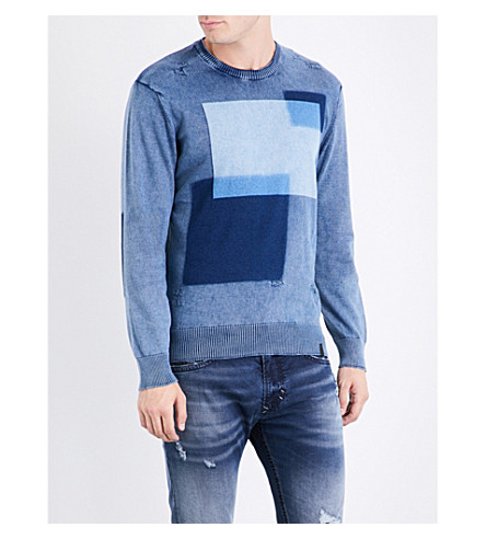 DIESEL K-patch distressed cotton sweatshirt (Peacoat+blue