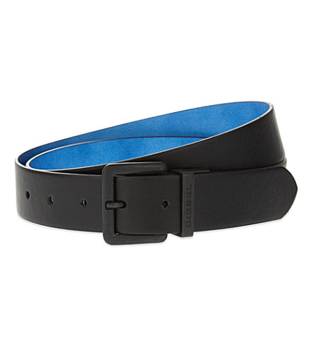 DIESEL Reversible leather belt (Black/blue
