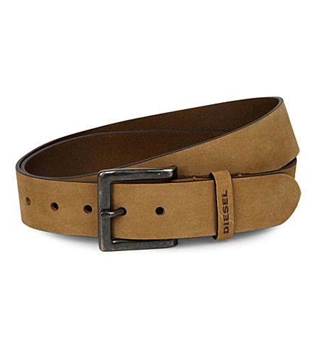 DIESEL B-solid leather belt (Tan