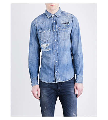 DIESEL D-Broome distressed denim shirt (Blue