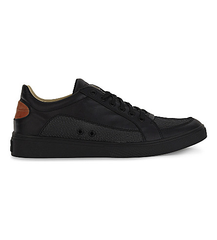 DIESEL S-Groove leather low-top trainers (Black/cuoio