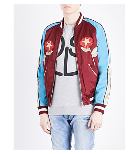 DIESEL Tree-embroidered satin bomber jacket (Red