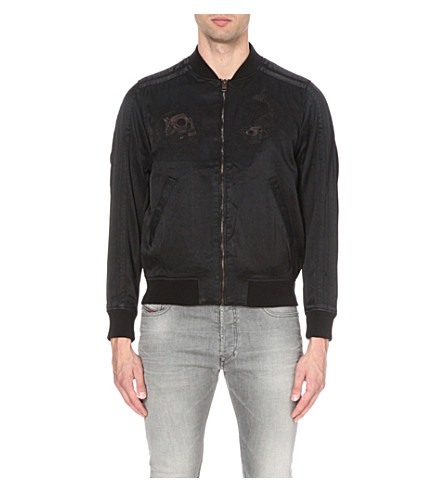 DIESEL J-blues satin bomber jacket (Black
