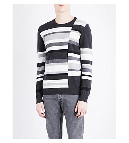 DIESEL K-arnau striped cotton sweater (Dark+grey+melange