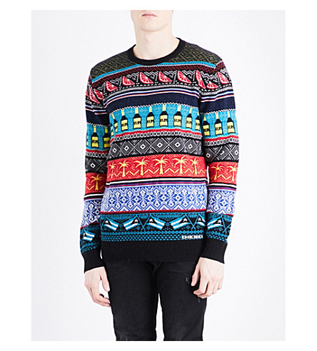 DIESEL K-cruz Fair Isle cotton-blend jumper (Surf+the+web