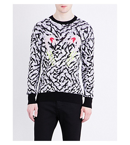 DIESEL K-Flaming abstract-pattern stretch-cotton sweatshirt (Black