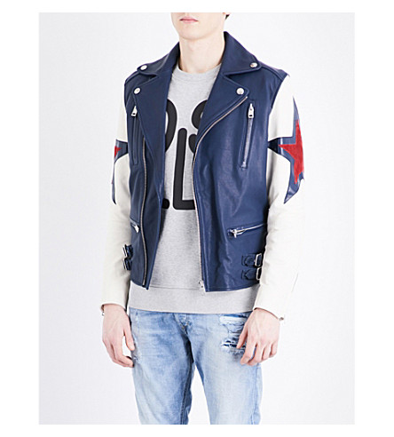 DIESEL L-Jasper leather jacket (Peacoat+blue