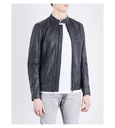 DIESEL L-kalfie leather jacket (Grey