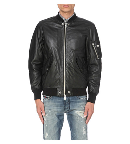 DIESEL L-kit leather bomber jacket (Black