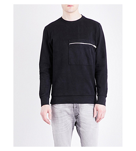 DIESEL S-Achille cotton sweatshirt (Black
