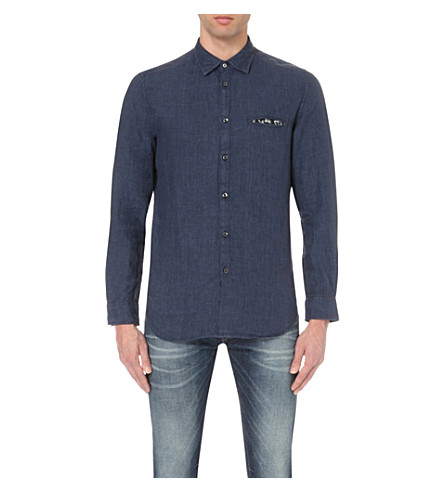DIESEL S-asak regular-fit linen shirt (Navy