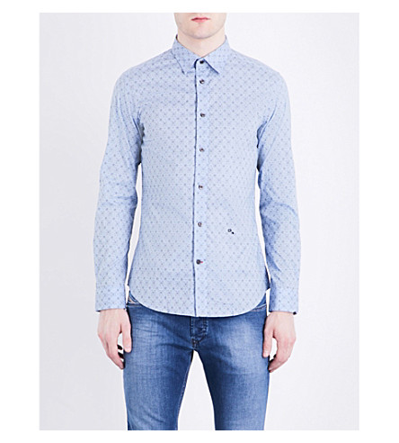 DIESEL S-blanca slim-fit stretch-cotton shirt (Blu
