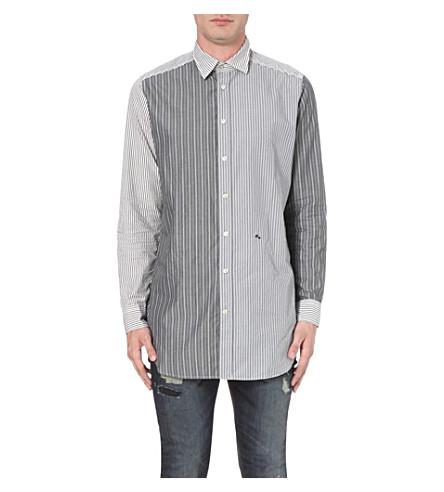 DIESEL S-filter striped cotton shirt (Black