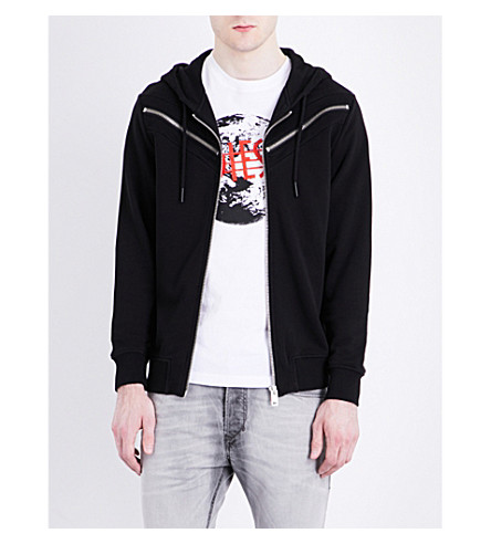 DIESEL S-Flyer zipper-detail cotton-jersey hoody (Black