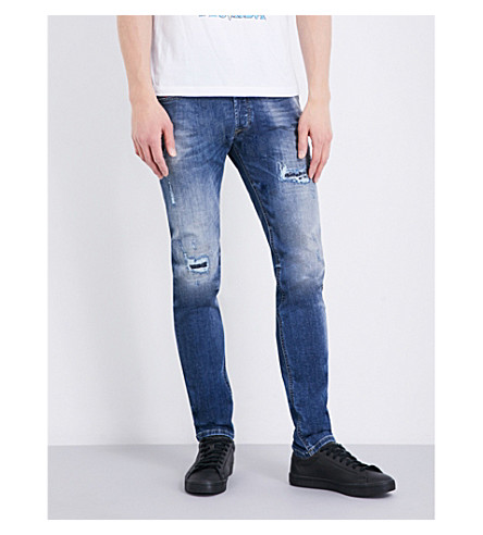 DIESEL Sleenker distressed skinny mid-rise stretch-denim jeans (Denim+blue