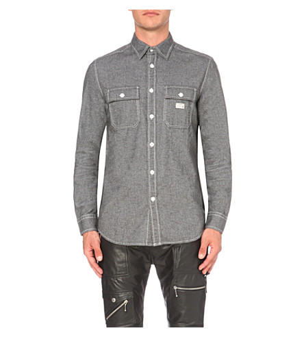 DIESEL S-Munste slim-fit cotton shirt (Grey