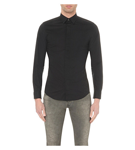 DIESEL S-nap concealed-button shirt (Black