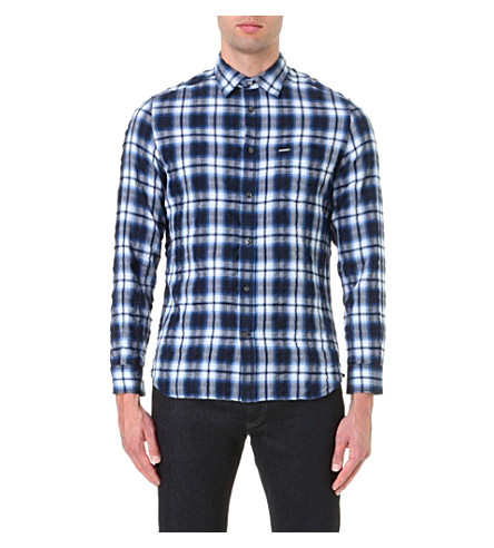 DIESEL S-oasis cotton-blend plaid shirt (Blue