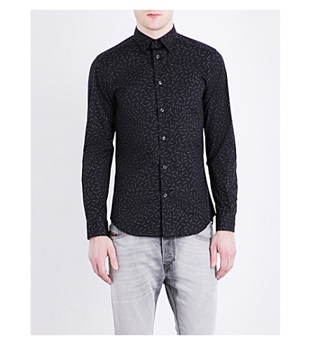 DIESEL S-Ruiz matchstick-print slim-fit stretch-cotton shirt (Black