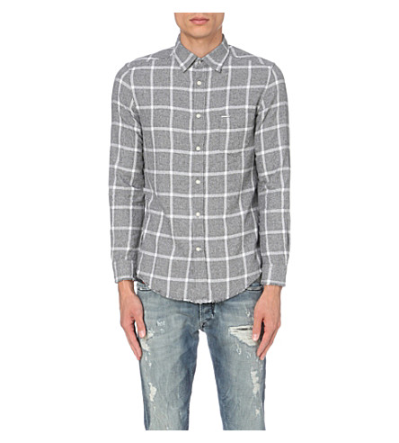 DIESEL S-tas checked cotton flannel shirt (White