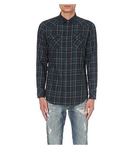 DIESEL Sulfeden checked cotton shirt (Olive