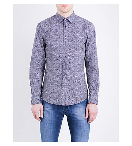 DIESEL S-Wegee abstract-print slim-fit cotton shirt (Peacoat+blue