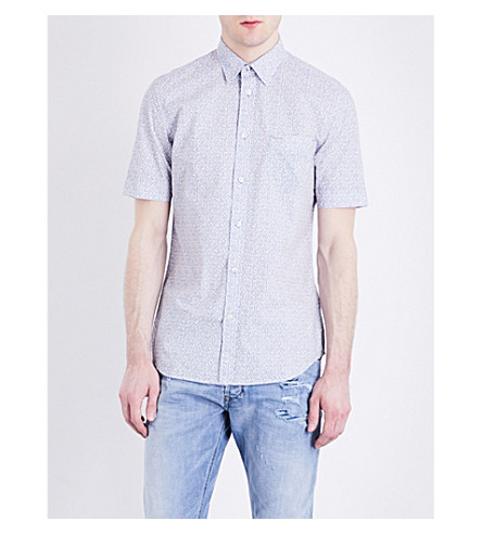 DIESEL S-Wop geometric-print cotton-poplin shirt (Mediterranian+blue