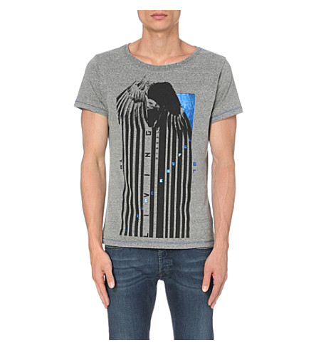 DIESEL T-diego graphic-print cotton T-shirt (Grey