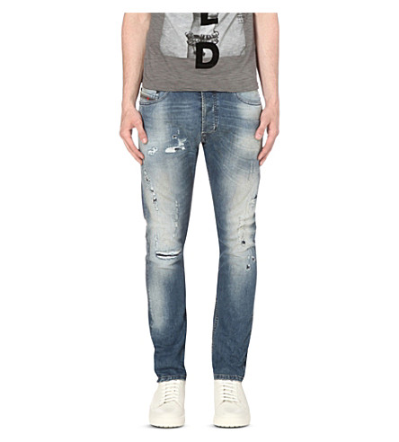 DIESEL Tepphar 0854 slim-fit distressed tapered jeans (Denim