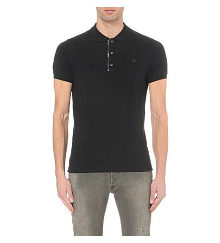DIESEL T-kalar stretch-cotton polo shirt (Black