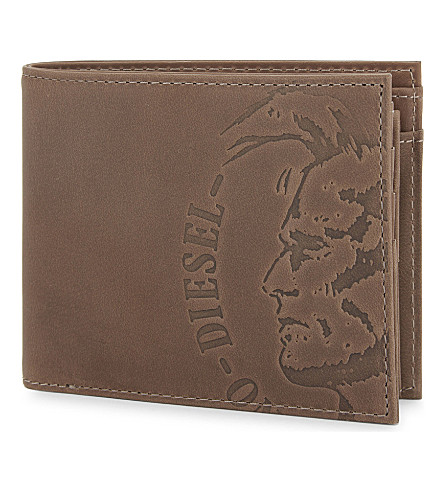 DIESEL Embossed logo billfold wallet (Anthracite