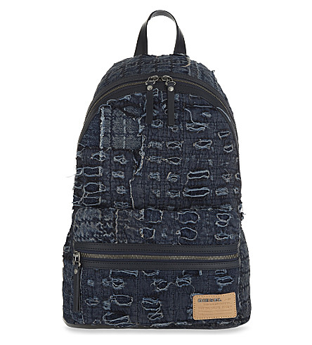 DIESEL D-Roppongy denim backpack (Medieval+blue