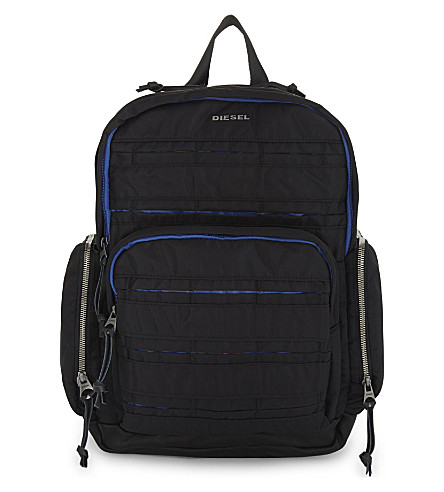 DIESEL M-24/7 Group nylon backpack (Black/blue