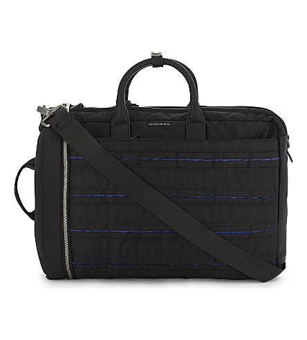 DIESEL M-24/7 Group nylon briefcase (Black/blue